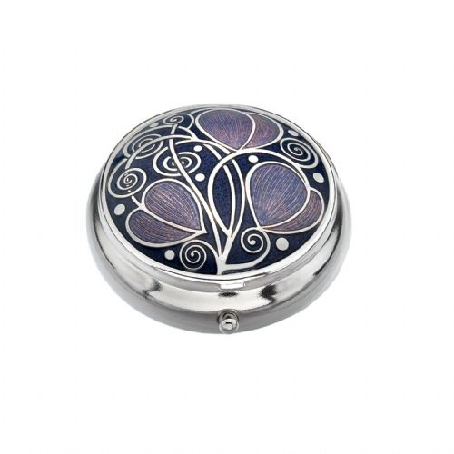 Pill Box Silver Plated Mackintosh Leaves and Coils Purple Brand New and Boxed